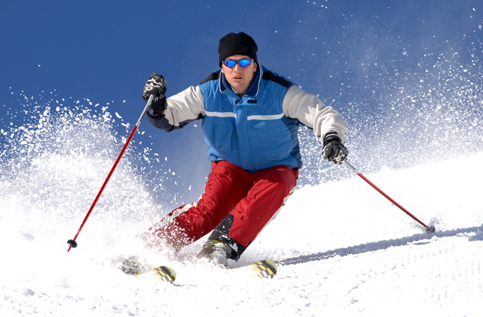 adult man skiing