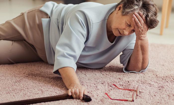 elderly lady fell on floor