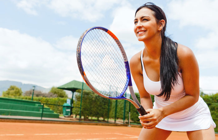active tennis player on the court